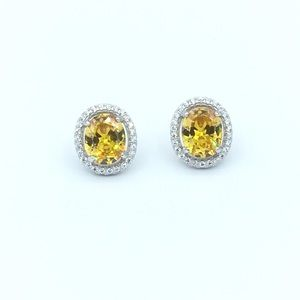Jewelry - 🛍925 SS Yellow CZ Oval Stud Earrings🛍
